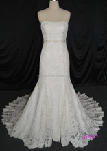 JD2007 mermaid lace with beading cathedral bridal gowns