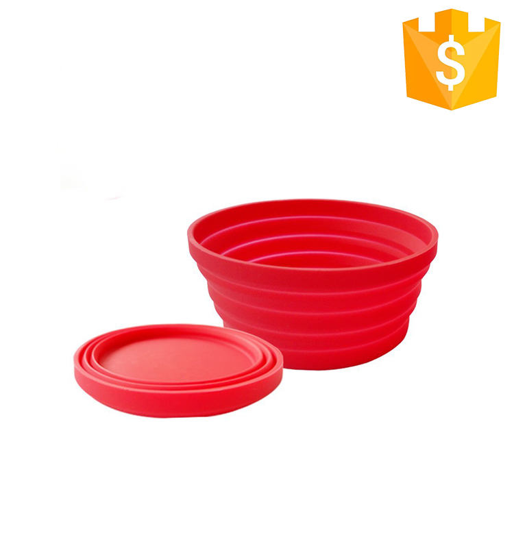 Kitchen portable outdoor camping silicone dog folding bowl