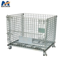 High quality Warehouse Stacking Collapsible Heavy Duty Foldable Steel Wire Container