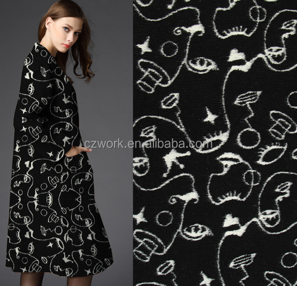 520gsm Woolen brocade fabric textile for winter, 50%wool high quality windcoat fabric