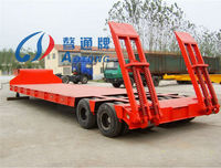 2 Lines 4 Axles 45on-55ton Low Flat Bed Cargo Truck Semi Trailer(Customized Available)