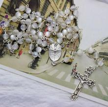 R0028 white pearl wholesale rosary parts necklace making