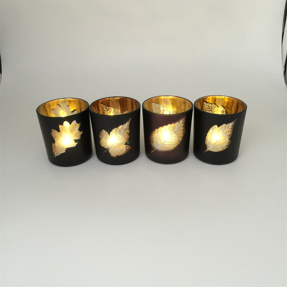 Electroplating gold mercury glass votive candle holders