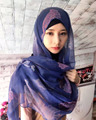 Latest big size print silk linen muslim long scarf islamic scarves hijab HW229