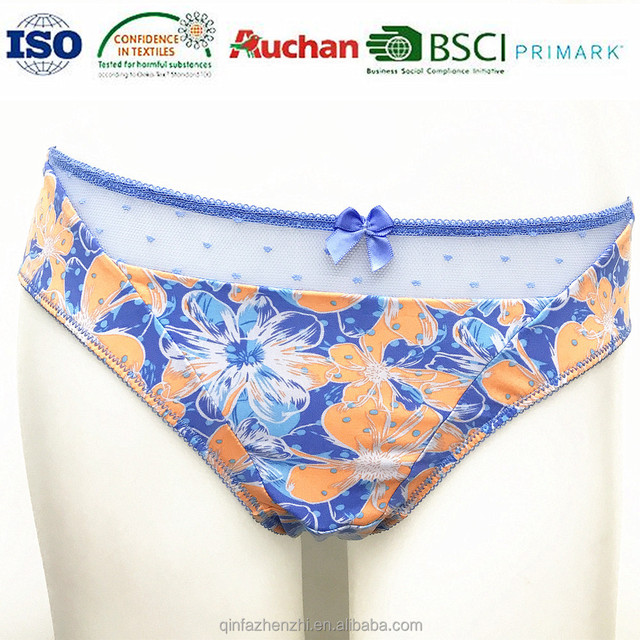 hot sale fashion printed ladies elastic satin panties briefs for women underwear lingerie