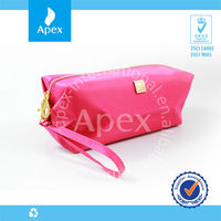 Zipper promotional colorful polyester cosmetic bag with gold logo