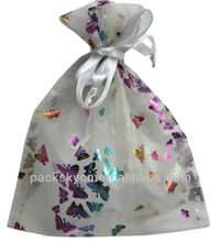 Candy color personalized organza bag string silk gift package bags pure color