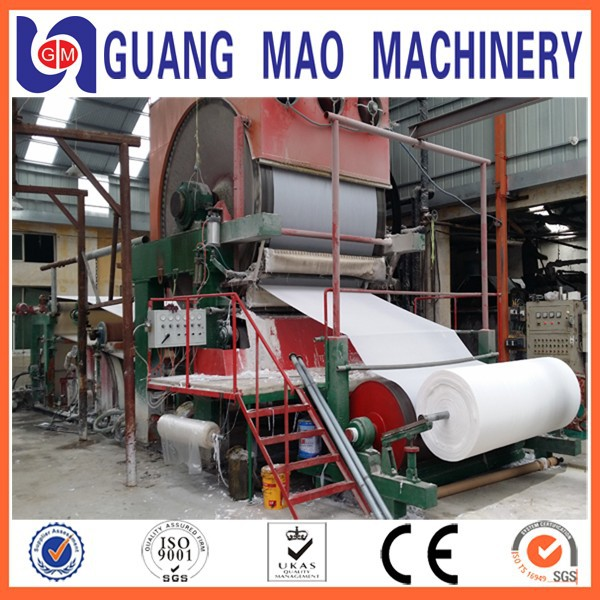 Turn-Key Project 2100mm toilet tissue paper making machinery, raw material: waste paper, bamboo,wood, straw, stalk,etc.