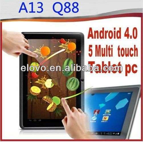 "All winner a13 tablet pc 7"" Q88 android 4.0 Multi Touch Screen Wifi Camera MID"