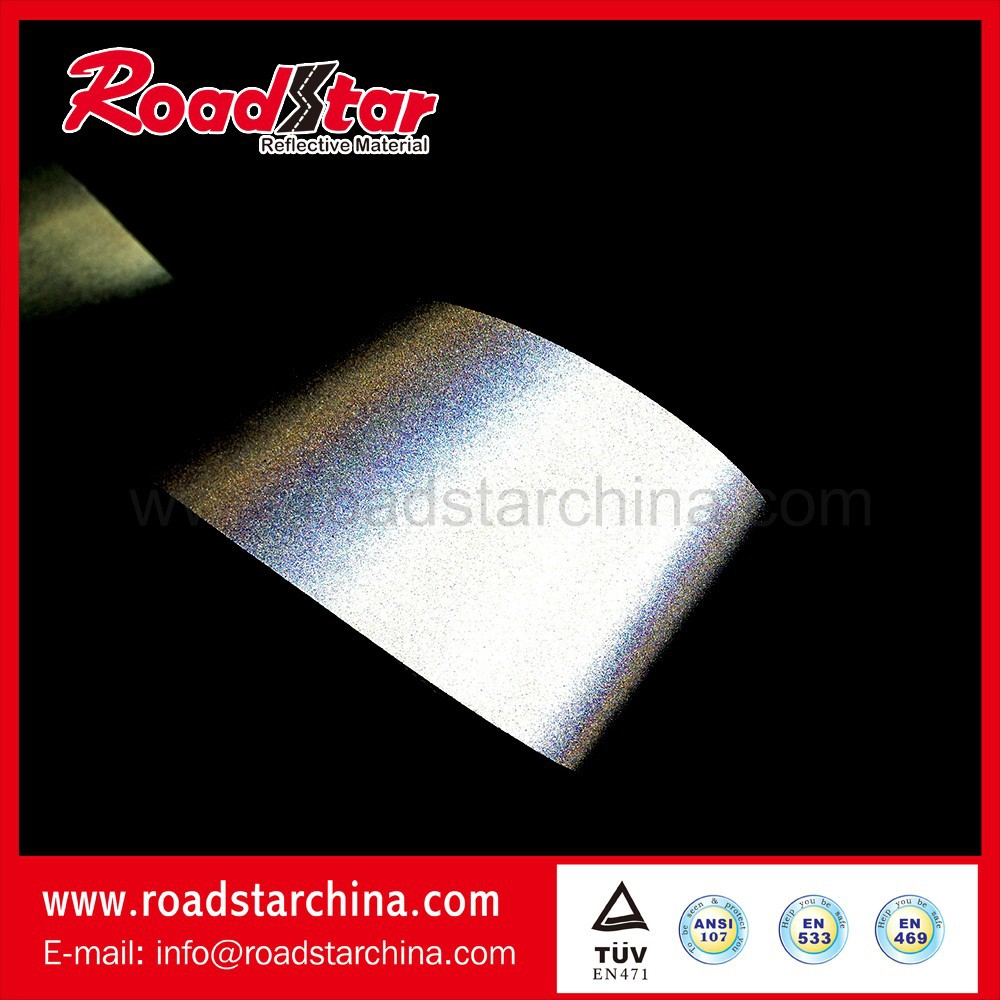 Silver color reflective pvc leather for jacket