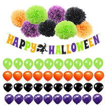 Happy Halloween Banner Kit with Pearl Latex Balloons Set with Paper Pompom Flower for Halloween Party Decoration