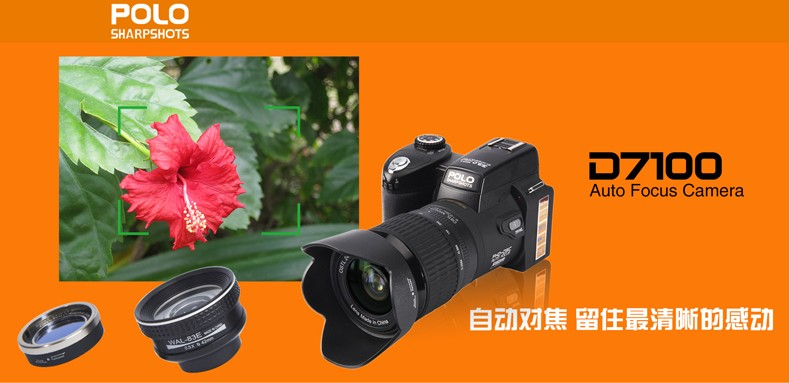 New Version D7100 Digital Camera Support 33MP Auto Focus 1080P HD Camcorder 24x Optical Zoom Telephoto Lens+ Wide Angle Lens