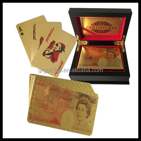 Golden metal playing cards gold poker cards
