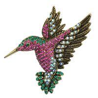 2017 YIWU 2017 animal brooches for women Korea fashion accessories wholesale woodpecker antique gold rhinestone brooch