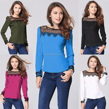 NZ82 new fashion blouses designs fat ladies long sleeved lace chiffon shirt design