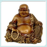 Sitting happy chinese laughing buddha bronze Statue figure