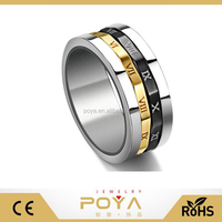 POYA Jewelry 12mm Gold Silvery Black Spinner Stainless Steel Roman Numerals Mens Womens Ring