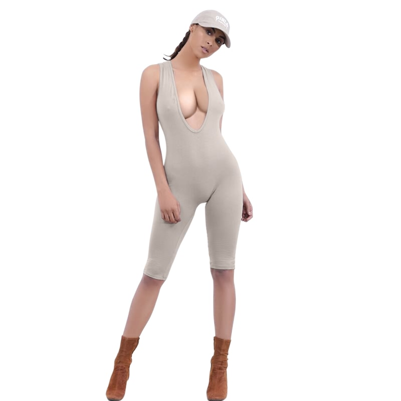 Wholesale 2016 New Deep V neck Rompers Women Jumpsuits Sleeveless Bodycon One Pieces Sexy Bodysuits Playsuits Tracksuit