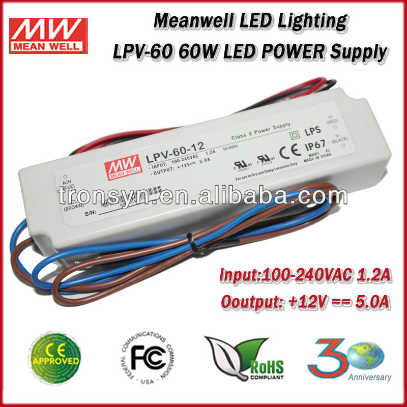 Meanwell LED Power Supply LPV-60-12 60W 12V IP67 waterproof electronic led light driver