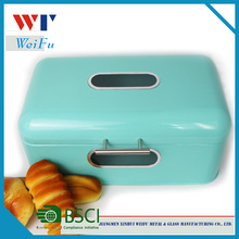 Vintage kitchen metal bread box with windows