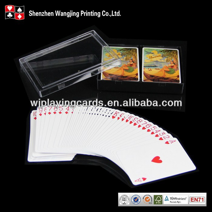 Clear Plastic Flip Top Box Packing Custom Printed Logo Playing Cards