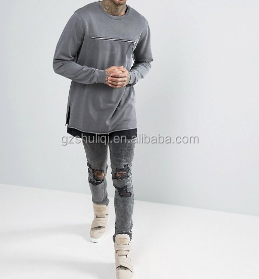 Fashion solid color sweater hoodies custom men longline crewneck sweatshirt with zip chest pocket