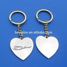 personalized sweet heart shape silver plate wedding gift metal keychain