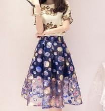 D80717F 2015 fashion printing lady retro skirt suits