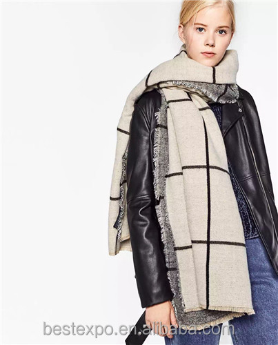2016 hot sale plaid blanket women fashion cashmere scarf wool cape shawl