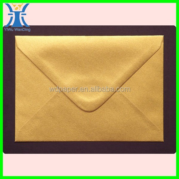 Yiwu 2014 New Arrivred Cheap Gift Gold Pearlescent Paper Postal Envelopes