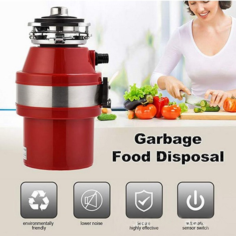 110V Food Waste Disposer Kitchen Sink 1L Capacity Waste Disposal Food Garbage Disposer US Plug