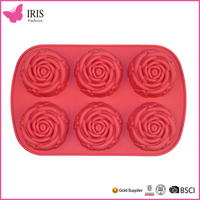 High quality cheap custom 6 Cup silicone mini cake moulds