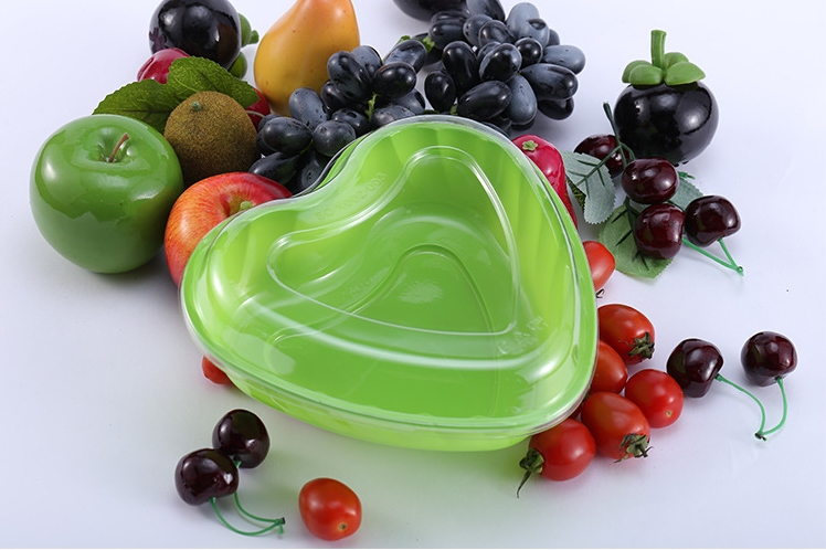 Heart Shape Disposable Plastic Fresh Cut Fruit Tray