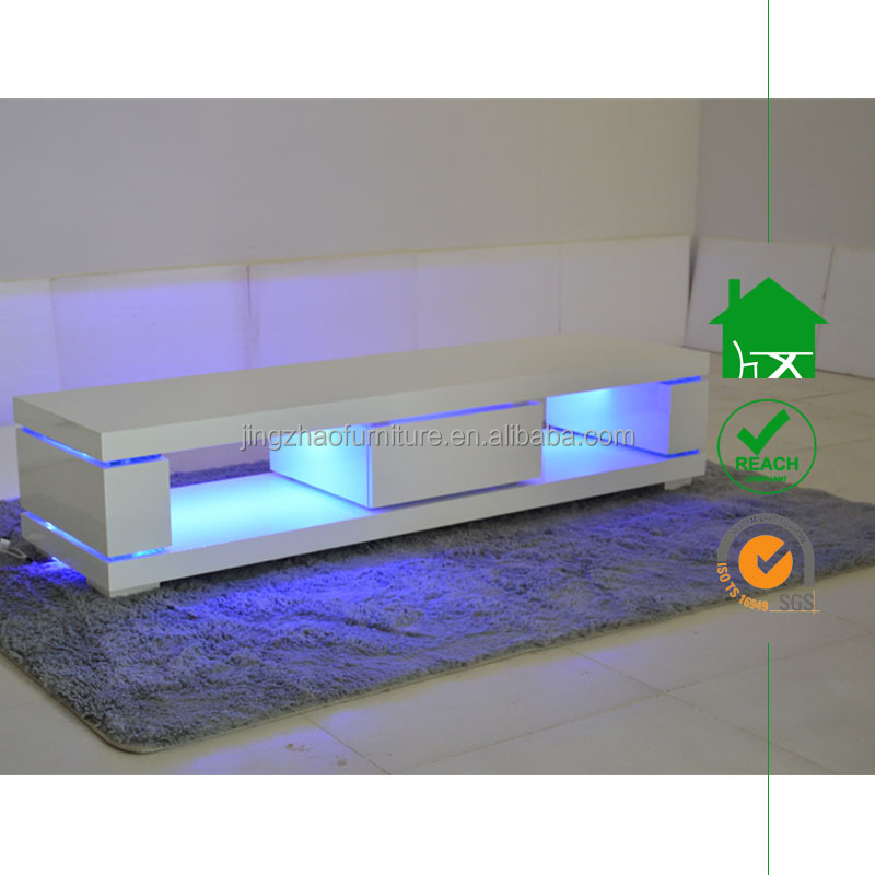 TV-2301 MDF White High Gloss LED TV Stand Furniture