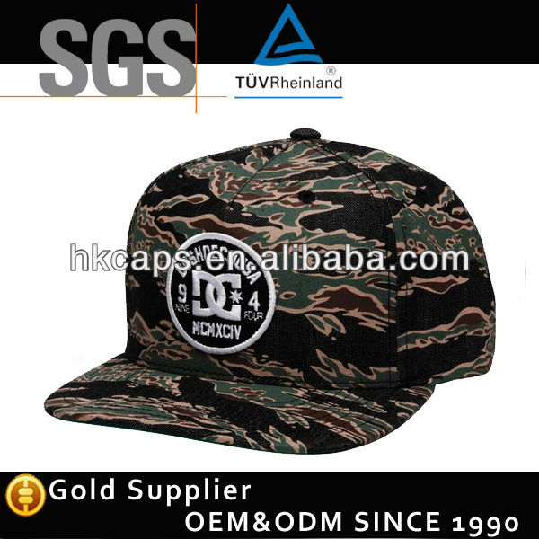 Camo Fabric 6 Panel Snap Back Cap Funny Party Hats
