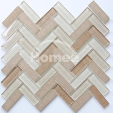 Beige 23x73mm mosaic tile backsplash herringbone tile mosaic decoration for wall decoration