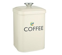 Square White Metal Coffee Tin Container