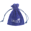 Wholesale/ Custom velvet pouch bag drawstring with hot stamp gold logo black