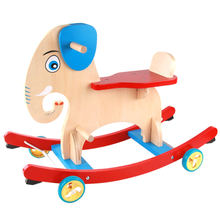 Wholesales Elephant Designed Wooden Rocking Horse Baby Wood Ride On Animal Toys With Wheels MFRH-002