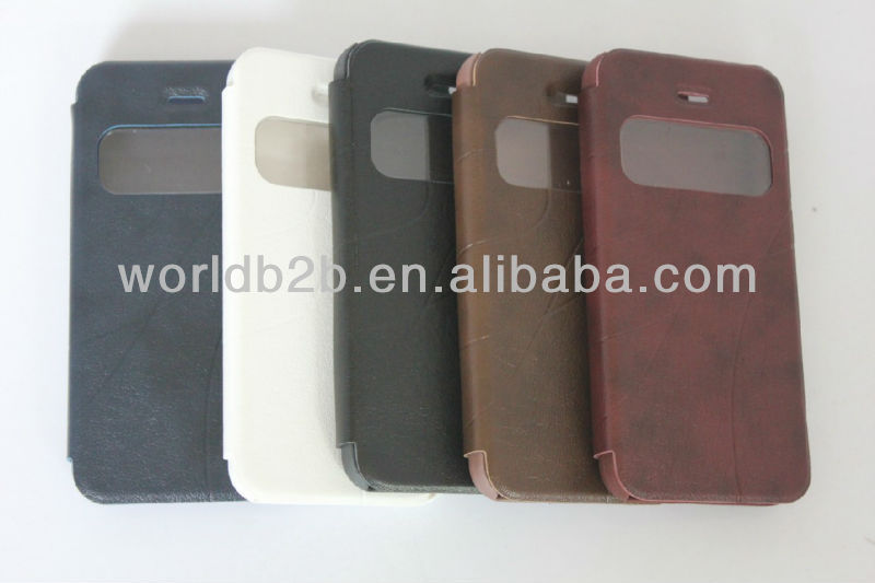 Newest Oscar Design Leather Case for iPhone 5C mini Lite with window design