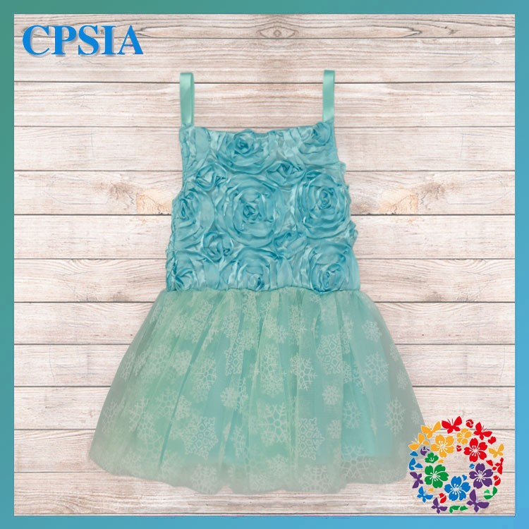 Aqua Rosette Baby 1 Year Old Party Dress Cute Birthday Dress For Baby Girl