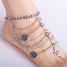 2017 Retro Coin Chains Body Jewelry Anklet With Toe Ring