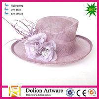 elegant purple feather organza church hats for sale