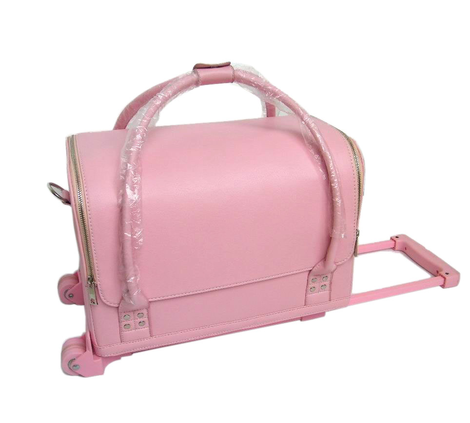 Trolley PVC pink makeup cases wtih handle makeup storage cosmetic case,hot sale cosmetic box, beauty bag with good quality