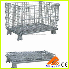 china foldable collapsible pallet bin,steel storage cages rack,large animal cage