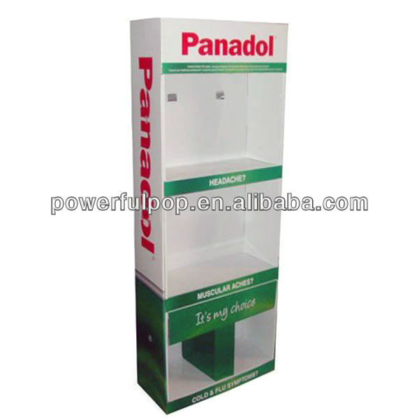 powerful capacity panadol sidekick cardboard paper display rack