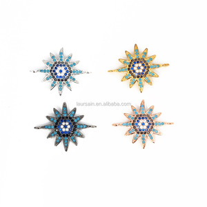 LS-D166 Wholesale cubic zirconia sun flower connectors with turquoise cz,cz micro pave connector,cz pave micro jewelry connector