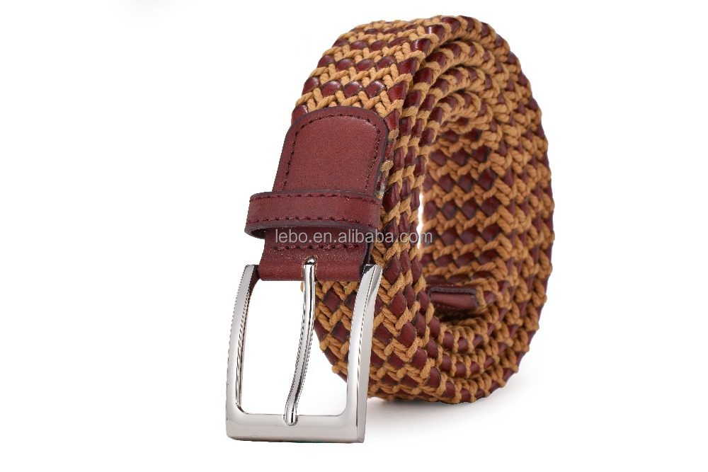 Braided bonded leather belt for men western style leather belts with cotton rope