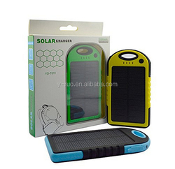 Solar Charger 5000mAh Rain-resistant Dirt/Shockproof Dual USB Port Portable Charger Backup Power Pack for iPhone 6 plus 5S 5C 5