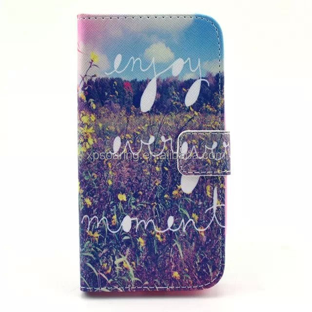 Printed wallet PU flip leather case for Samsung Galaxy Alpha G850F